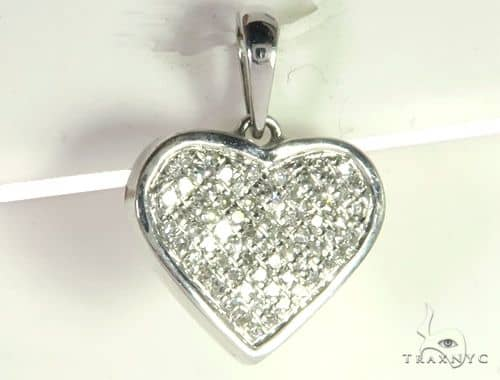 14K White Gold Micro Pave Diamond Heart Pendant. 63287 Metal