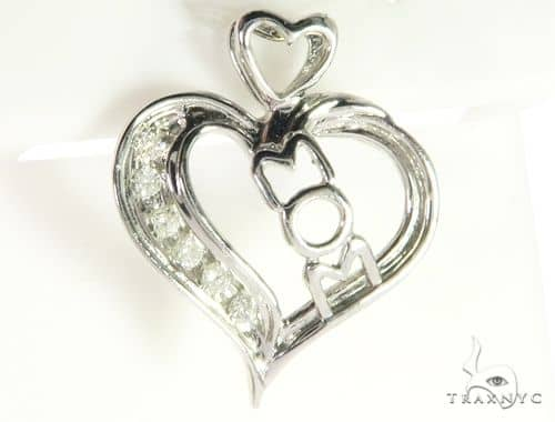 14K White Gold Micro Pave Diamond Heart Pendant. 63289 Metal