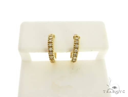 14K Yellow Gold Micro Pave Diamond Stud Earrings. 63290 Stone
