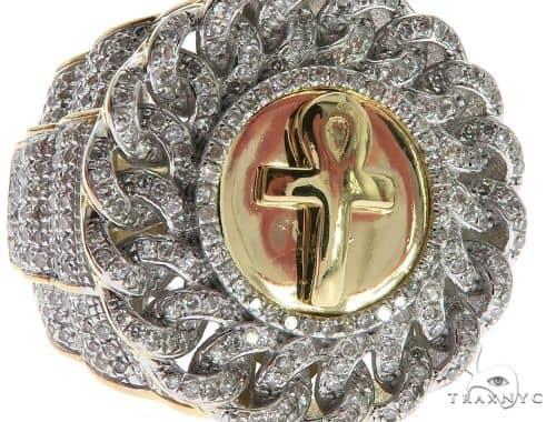Mens Diamond Jewelry Men S Rings Stone 10k Yellow Gold Micro Pave Ankh Ring 63293