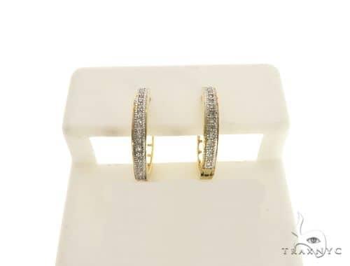 14K White Gold Micro Pave Diamond Stud Earrings. 63318 Stone