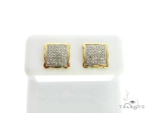 10K Yellow Gold Micro Pave Diamond Square Stud Earrings. 63321 Stone