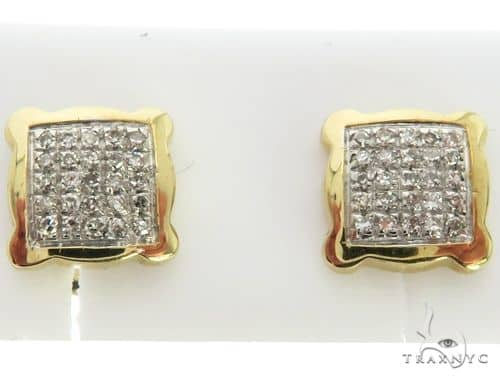10K Yellow Gold Micro Pave Diamond Stud Square Earringsl 63322 Stone