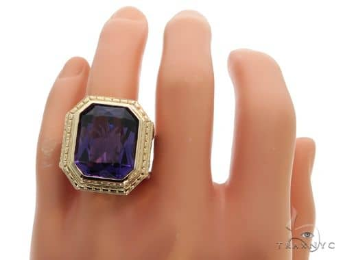 14K Yellow Gold Holy Amethyst Ring 63353 Mens Stone Yellow Gold 14k