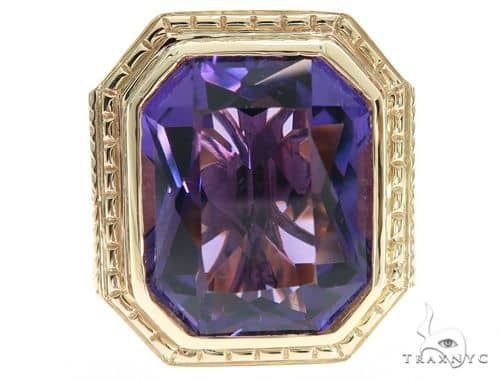 14K Yellow Gold Holy Amethyst Ring 63353 Stone
