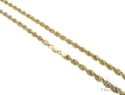 10K Yellow Gold Hollow Rope Link Chain 20 Inches 6.5mm 14.1 Grams 63374 Gold