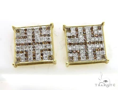 14K Yellow Gold Micro Pave Dual Color Earringsl 63401 Stone