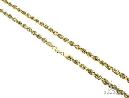 10K Yellow Gold Hollow Rope Link Chain 22 Inches 4mm 6.9 Grams 63392 Gold