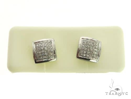 10K White Gold Micro Pave Diamond Stud Square Earrings. 63410 Stone