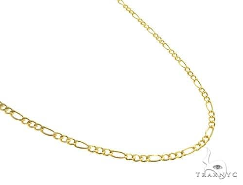 Choker Necklace 14K Yellow Gold Semi-Hollow Figaro Link 16 Inches 2.5mm 2.3 Grams Gold