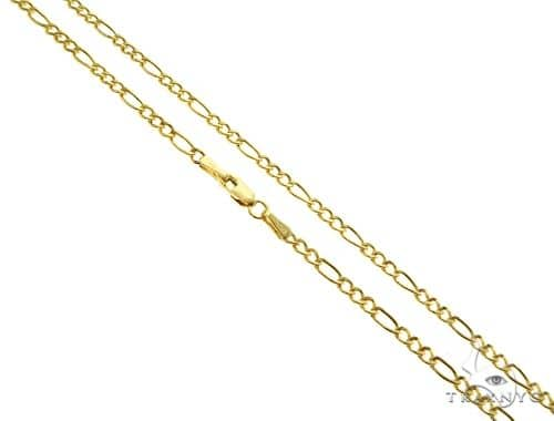 Choker Necklace 14K Yellow Gold Semi-Hollow Figaro Link 18 Inches 2.5mm 2.5 Grams Gold