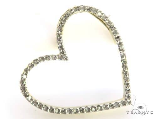 14K Yellow Gold Micro Pave Diamond Heart Pendant 63451 Stone