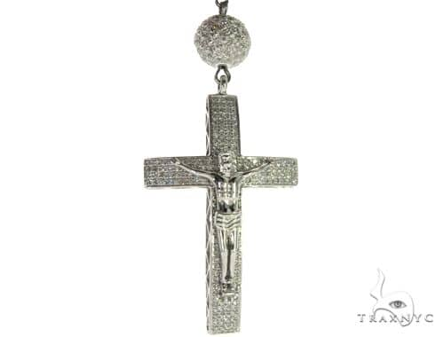 14K White Gold Pave Diamond Rosary Chain 32 Inches 8mm 64.7 Grams 63454 Diamond
