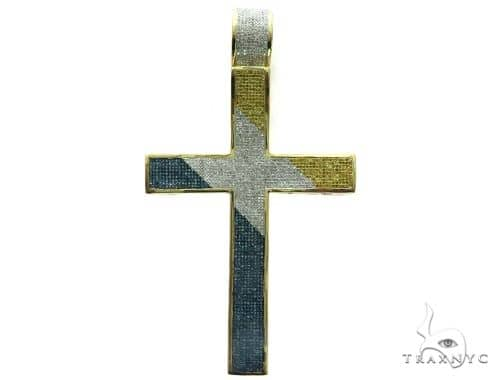 10K Yellow Gold Diamond Stud XL Cross Pendant 63468 Metal