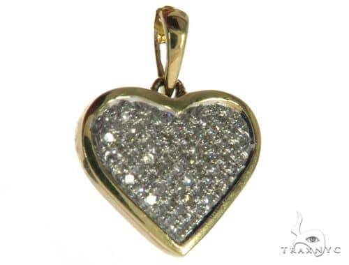 14K Yellow Gold Micro Pave Diamond Heart Pendant. 63484 Stone