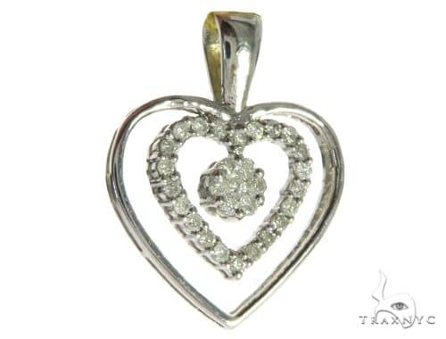 14K White Gold Diamond Double Heart Pendant. 63487 Stone