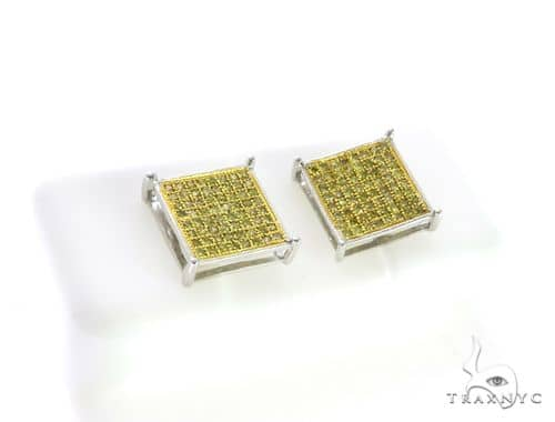 14K White Gold Micro Pave Diamond Stud Square Earrings 63493 Stone