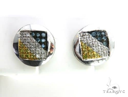 10K White Gold Micro Pave Tri Color Earrings 63494 Stone