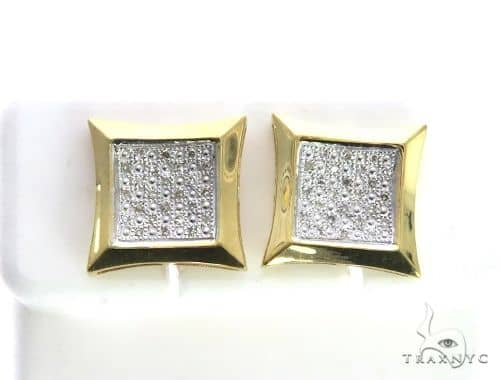 14K Yellow Gold Micro Pave Diamond Stud Earrings 63496 Stone