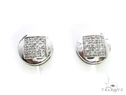 14k White Gold Micro Pave Diamond Stud Earrings 63501