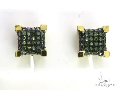 10K Yellow Gold Micro Pave Green Diamond Earring 63505 Stone