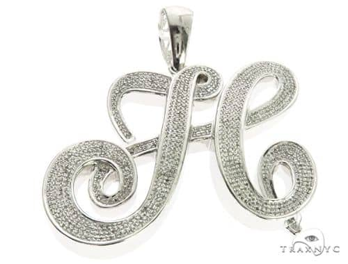 10K White Gold Micro Pave Diamond Initial Letter H Pendant 63539 Metal