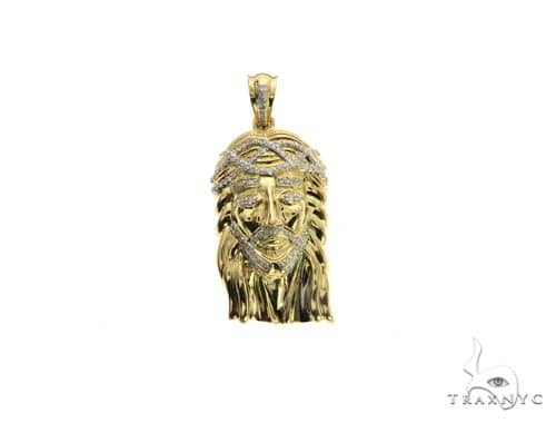 10K Yellow Gold Micro Pave Diamond Jesus Pendant 63540 Metal