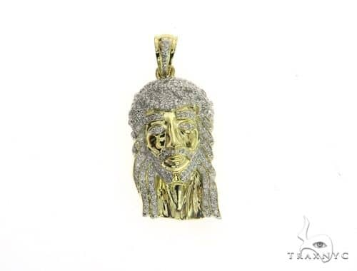 10K Yellow Gold Micro Pave Diamond Jesus Pendant 63541 Metal