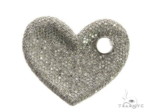 14K White Gold Micro Pave Diamond Heart Pendant 63546 Stone