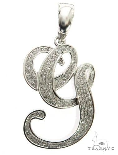 10K White Gold Diamond 'G' Initial Pendant 63555 Metal