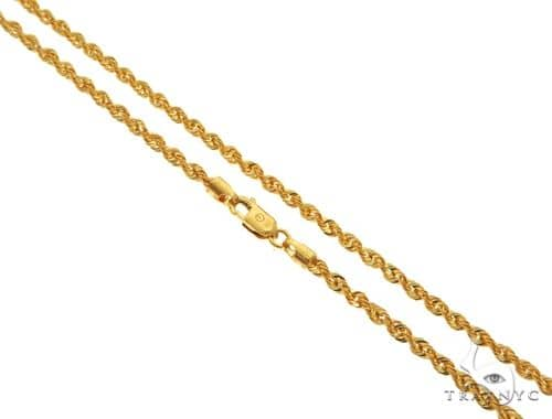 22K Yellow Gold Hollow Rope Link Chain 16 Inches 2.1mm 3.79 Grams 63560 Gold