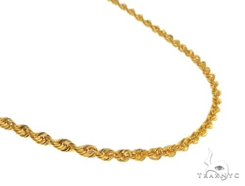22K Yellow Gold Hollow Rope Link Chain 18 Inches 2.1mm 3.33 Grams 63561 Gold