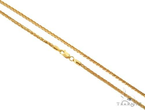 22K Yellow Gold Wheat Link Chain 24 Inches 2.1mm 21.8 Grams 63584 Gold