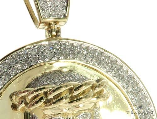 10k Yellow Gold Micro Pave Diamond Jesus Face Round Pendant 63613 Mens Metal Yellow Gold 10k Round Cut 1 39 Ct