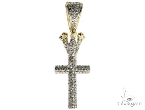 10K Yellow Gold Micro Pave Diamond Small Crowned Cross 63614 Metal