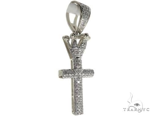 10K White Gold Micro Pave Diamond Small Crowned Cross 63615 Metal