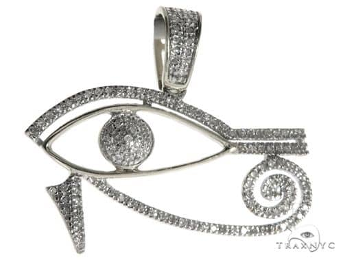 10K White Gold Micro Pave Diamond Egyptian Bedouin Evil Eye Charm Pendant 63621 Metal