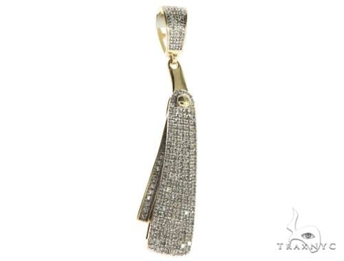 10K Yellow Gold Micro Pave Diamond Small Barbers Razor Blade Pendant Flips-open 63622 Metal
