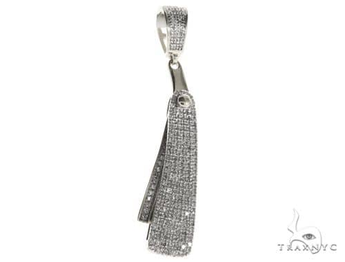 10K White Gold Micro Pave Diamond Small Barbers Razor Blade Pendant Flips-open 63623 Metal