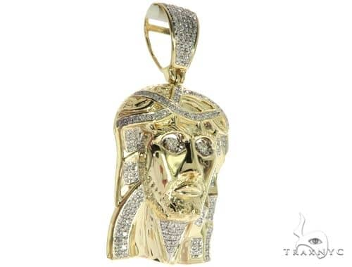 10K Yellow Gold Micro Pave Diamond Jesus Piece Charm Pendant 63624 Metal