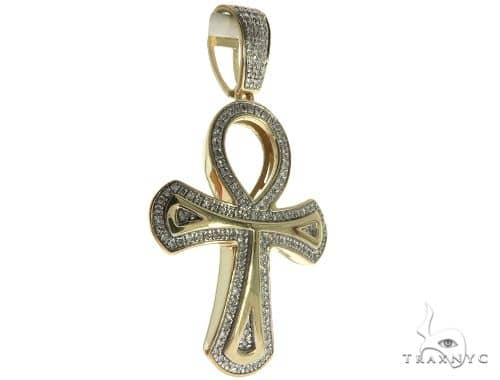10K Yellow Gold Micro Pave Diamond Ankh Cross 63627 Metal