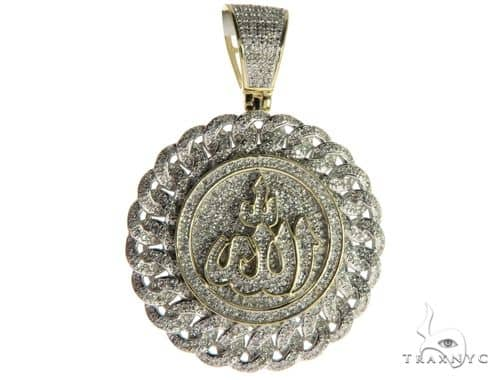 10K Yellow Gold Micro Pave Diamond Arabic Script Allah Charm Pendant 63636 Metal
