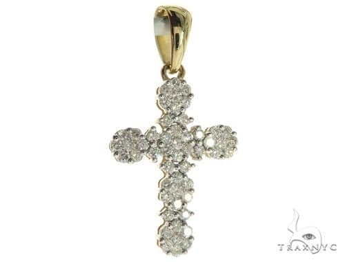 10K Yellow Gold Micro Pave Diamond Cross Pendant 63654 Diamond Cross Pendants