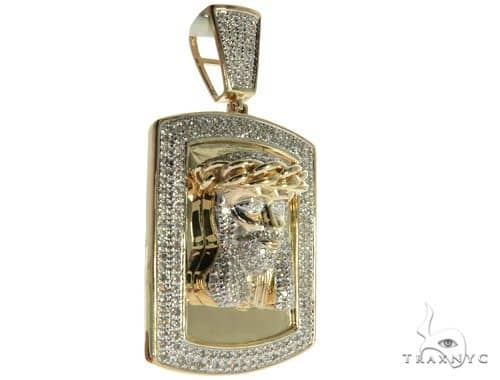10K Yellow Gold Micro Pave Diamond Jesus Head Charm Pendant 63656 Metal