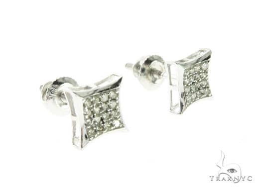 Womens Jewelry Unique Earrings 10k 14k 18k Gold White Micro Pave Diamond Stud 63740