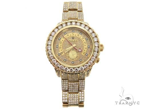 ROLEX 18k GOLD YACHTMASTER II 2 WATCH MODEL  116688 FULL DIAMOND WATCH 63741 Diamond Rolex Watch Collection