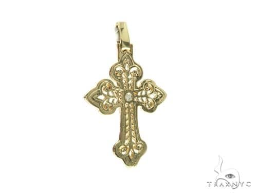 14K Yellow Gold Bezel Cross Pendant 63778 Metal