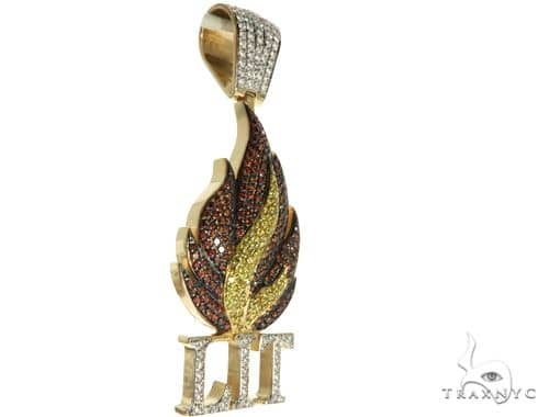 14K Yellow Gold Prong Diamond Custom Gold Flame LIT Pendant Metal