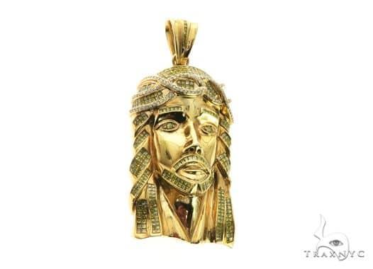 14K Yellow Gold Jesus Diamond Pendant 63849 Metal