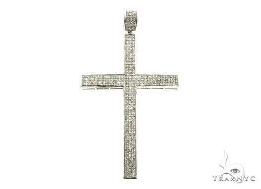 14K White Gold Micro Pave Diamond Cross Pendant 63851 Metal